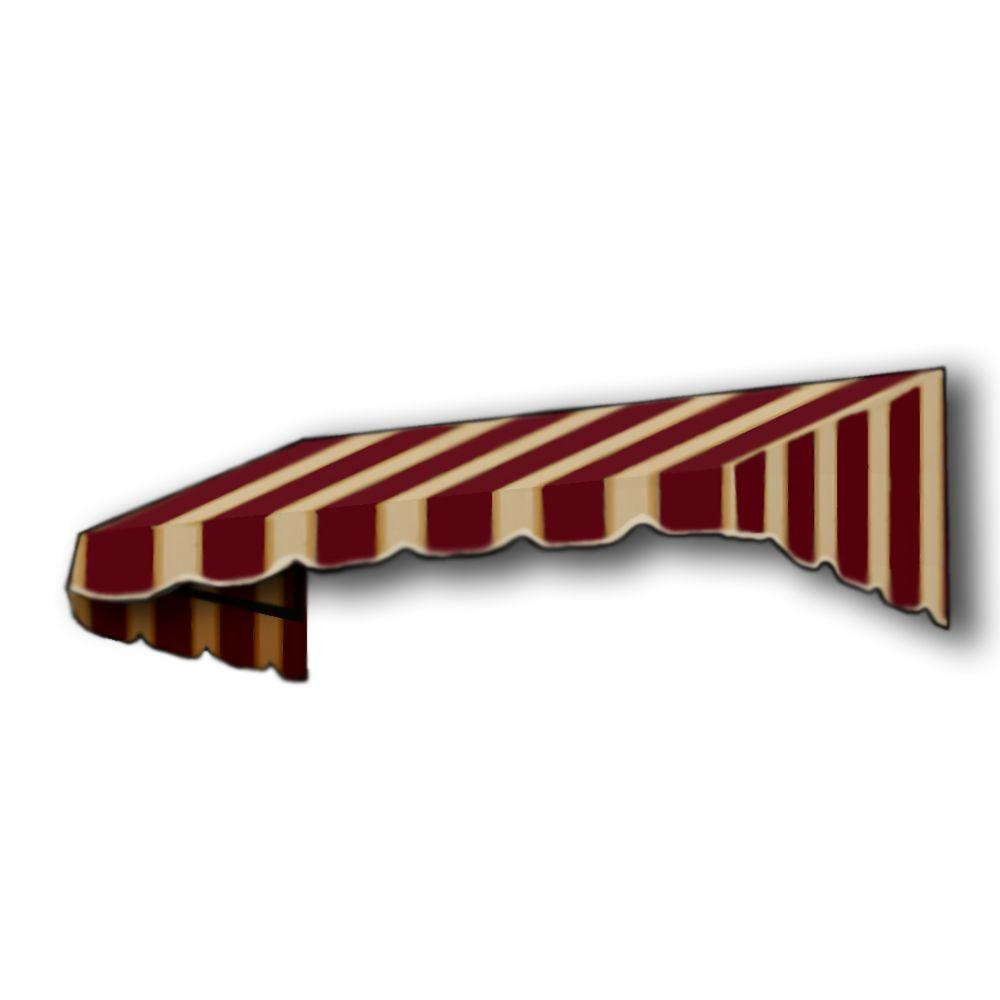 AWNTECH 5 ft. San Francisco Window/Entry Awning (24 in. H x 48 in. D) in Burgundy / Tan Stripe