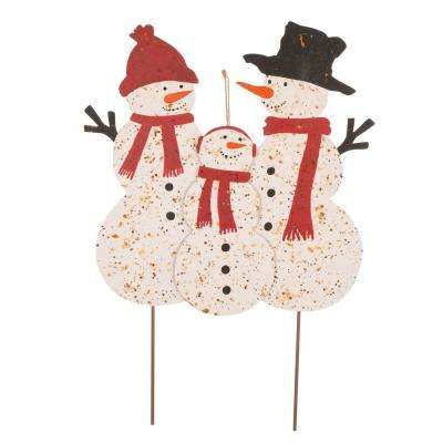 29.92 in. H Rusty Metal Snowman Family Yard Stake or Standing Decor or Wall Decor