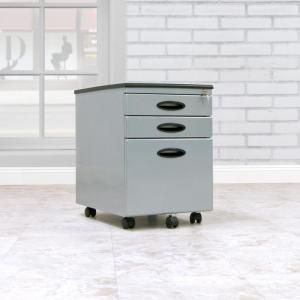 Letter / Legal 15.75 in. W x 22 in. D Silver Metal 3-Drawer Mobile File Cabinet with Lock and Key