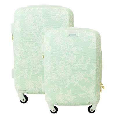 Lace Texture Hard Sided 29 in. and 21 in. 2-Piece Mint Luggage Set