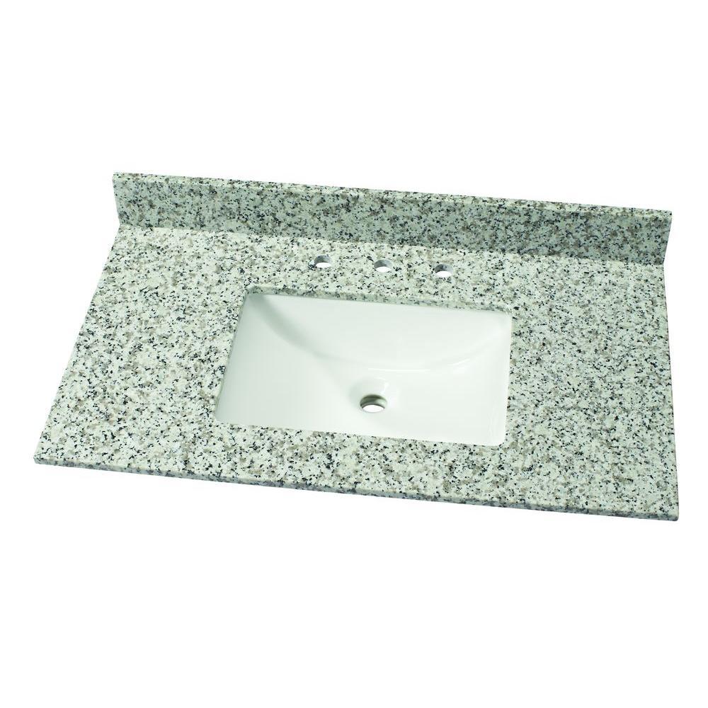 37 in. W Granite Single Vanity Top in Blanco Perla with White Sink