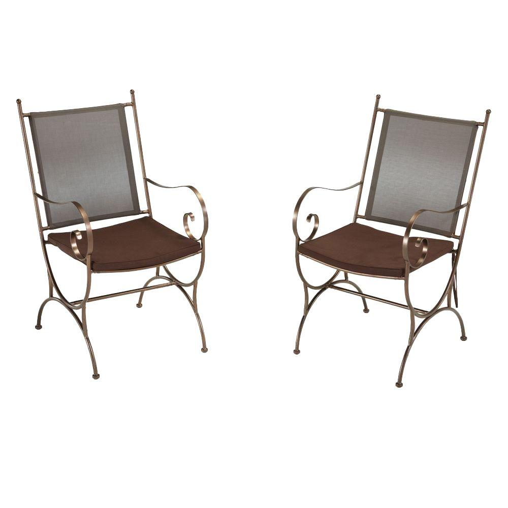 Home Styles Sundance Patio Dining Chair with Brown Cushion (Set of 2)