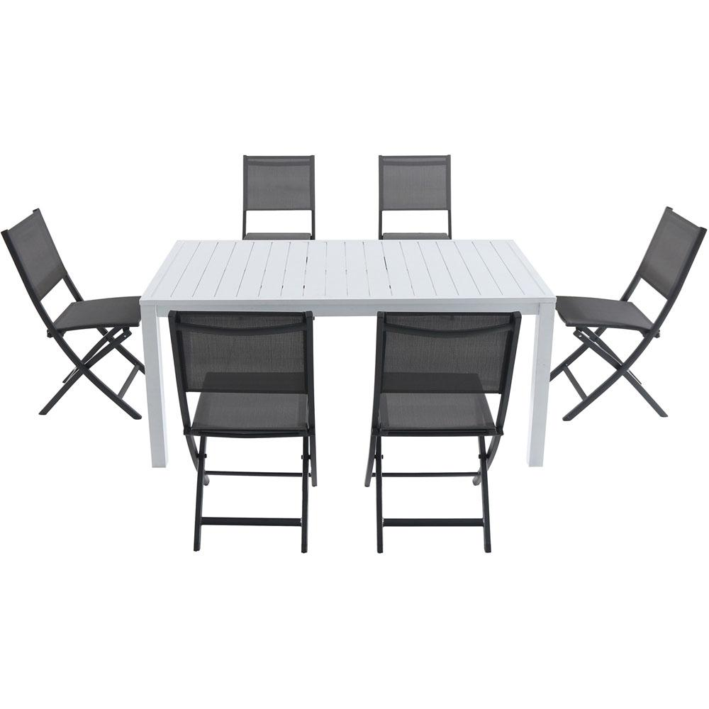Fabulous Cambridge Palermo 7 Piece Aluminum Outdoor Dining Set With 6 Sling Folding Chairs In Gray And A 78 In X 40 In Dining Table Frankydiablos Diy Chair Ideas Frankydiabloscom