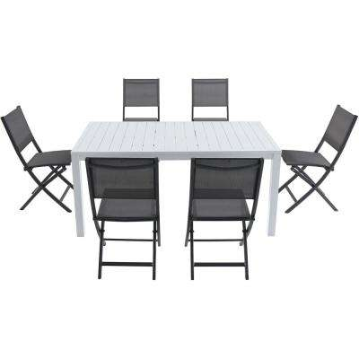 Palermo 7-Piece Aluminum Outdoor Dining Set with 6-Sling Folding Chairs in Gray and a 78 in. x 40 in. Dining Table