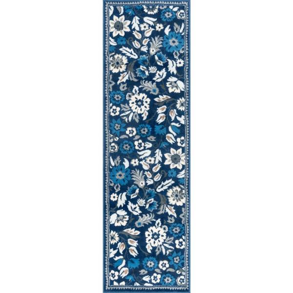 Tayse Rugs Madison Dark Blue 2 Ft 3 In X 10 Ft Indoor Runner Rug Mdn4307 2x10 The Home Depot