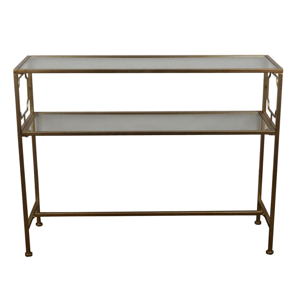 Decor Therapy Gold Glass Shelves Console Table-FR6354 - The Home Depot