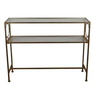 Gold Glass Shelves Console Table