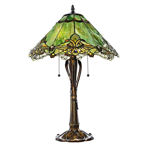 25 in. Green Indoor Table Lamp with Stained Glass Victorian Sea Green Crystal Lace Shade