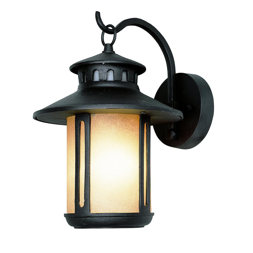 Design traditional wall mount in outdoor faux stone lantern with white frosted glass for Exterior wall mounted lanterns