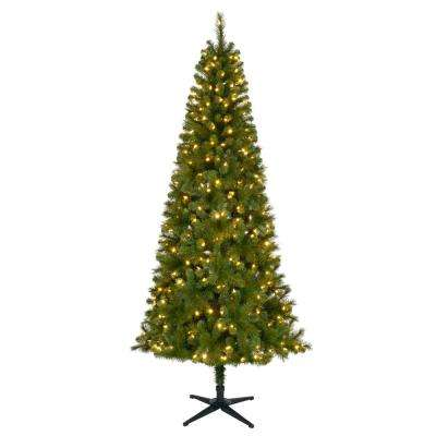 7.5 ft. Pre-Lit LED Wesley Slim Spruce Artificial Christmas Tree with 350 SureBright Color Changing Lights