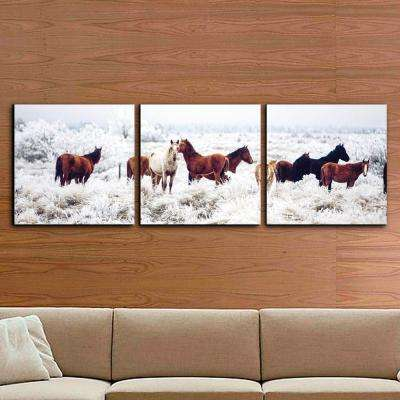 "24 in. x 72 in. ""Horses on Plains Printed Wall Art"
