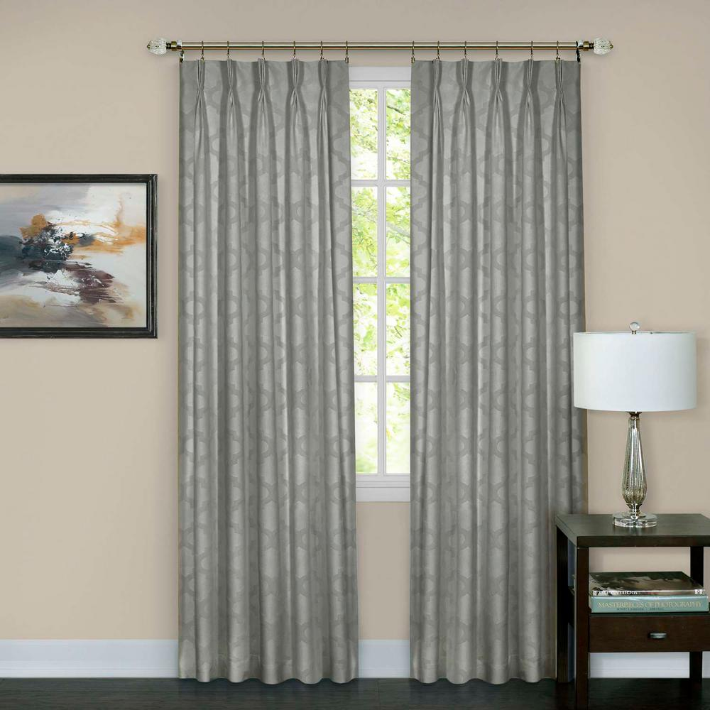 Windsor Silver Pinch Pleat Window Curtain Panel - 34 in. W