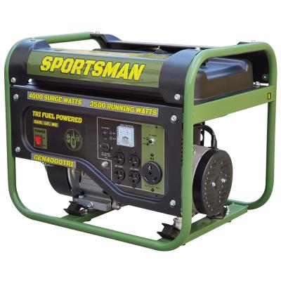 4,000-Watt/3,500-Watt Recoil Start Tri Fuel Portable Generator, Runs on Natural Gas, Gasoline, or Propane