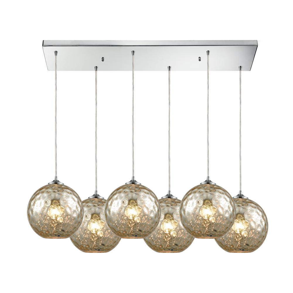 Titan lighting watersphere 6 light rectangle in polished chrome with mercury hammered glass pendant