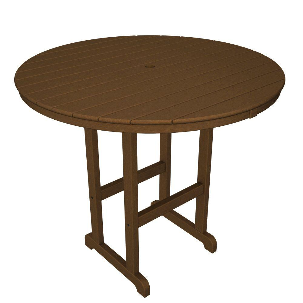 La Casa Cafe Teak 48 in. Round Plastic Outdoor Patio Bar