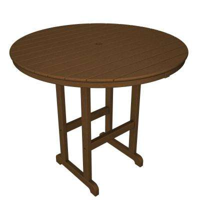La Casa Cafe Teak 48 in. Round Plastic Outdoor Patio Bar Table