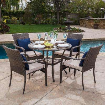 San Pico Brown 5-Piece Wicker Outdoor Dining Set