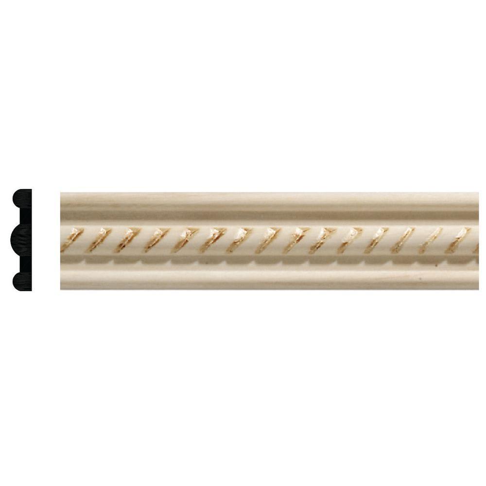 311 7/32 in. x 1 in. x 96 in. White Hardwood Embossed Rope Detail Moulding