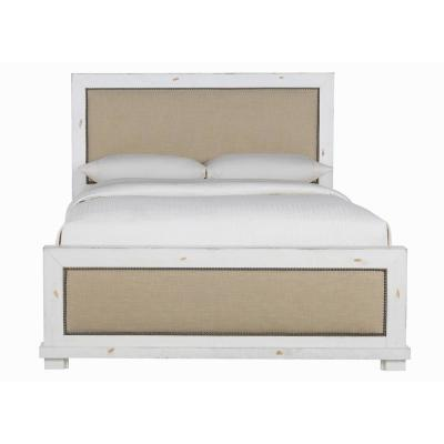 Willow Distressed White Full Size Upholstered Bed