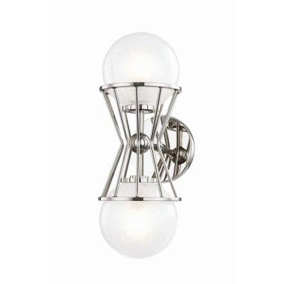 Petra 2-Light Polished Nickel Wall Sconce with Clear Crackel Glass Shade