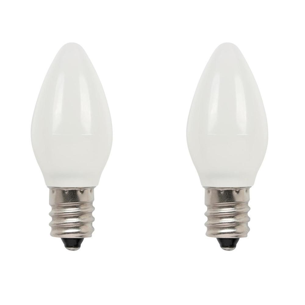 7-Watt Equivalent Frosted C7 LED Light Bulb Soft White (2-Pack)