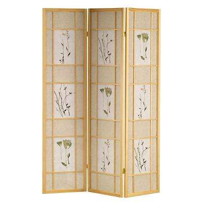 5.83 ft. Natural 3-Panel Room Divider
