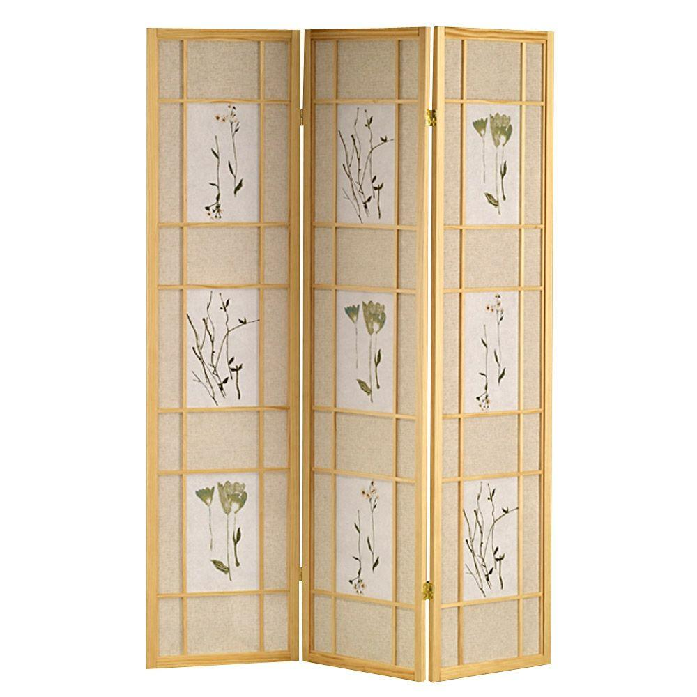5.83 ft. Natural 3-Panel Room Divider-R5442 - The Home Depot