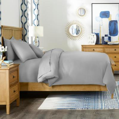 500-Thread Count Egyptian Cotton Sateen 3-Piece Full/Queen Duvet Cover Set in Stone Gray