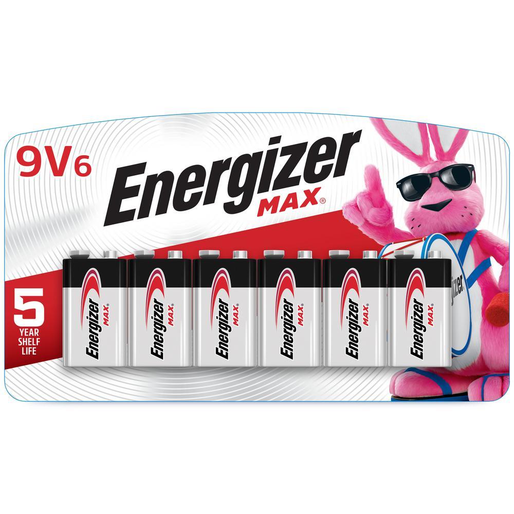Energizer MAX 9V Batteries (6 Pack), 9 Volt Alkaline Batteries