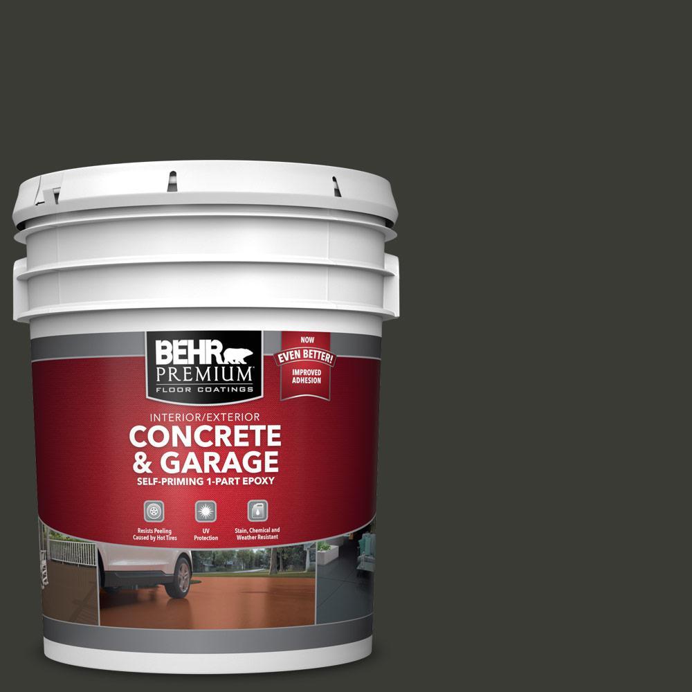 BEHR PREMIUM 5 gal. #ECC-10-2 Jet Black 1-Part Epoxy Satin Interior/Exterior Concrete and Garage Floor Paint