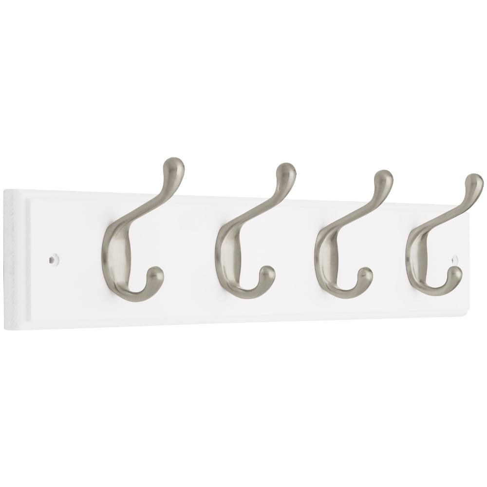 Liberty 18 in. White and Satin Nickel Heavy Duty Hook Rack