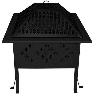 18 in. x 26.5 in. Square Rolled Steel Wood Fire Pit in Black