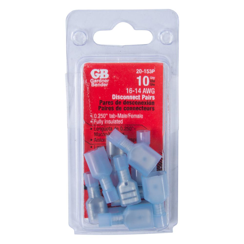 16-14 AWG VINYL QUICK DISCONNECT MALE FEMALE 250 1//4 SPADE CONNECTOR 100 pcs