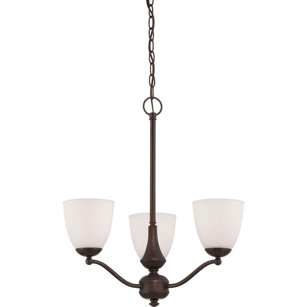 3-Light Prairie Bronze Chandelier with Arms Up Frosted Glass Shade