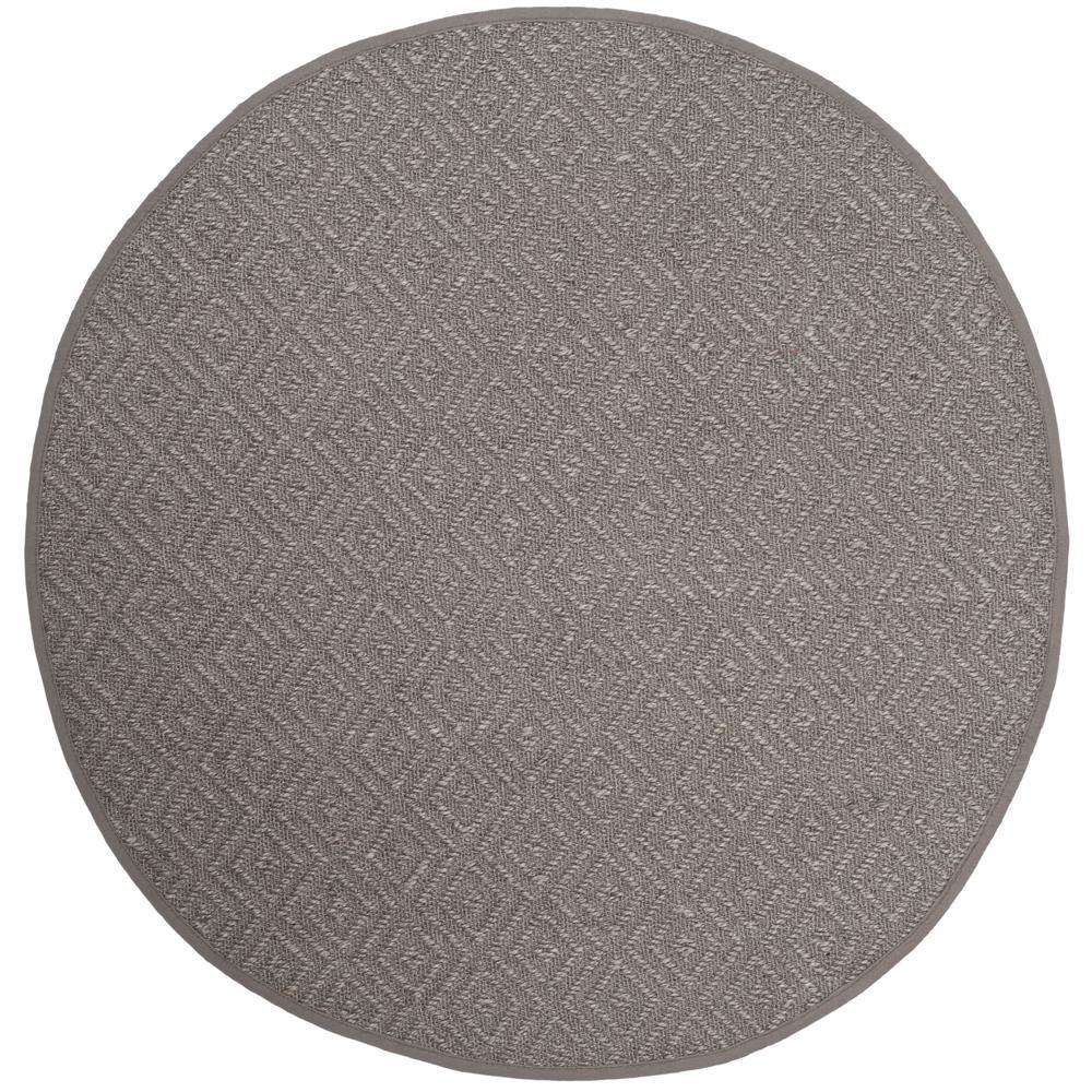 Natural Fiber Light Gray/Gray 6 ft. x 6 ft. Round Area Rug
