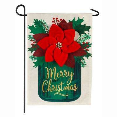 18 in. x 12.5 in. Poinsettia Mason Jar Garden Linen Flag