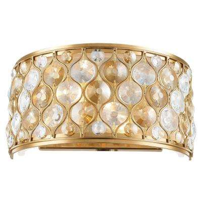 Paris 2-Light Matte Gold with Clear and Golden Teak Crystal Wall Sconce