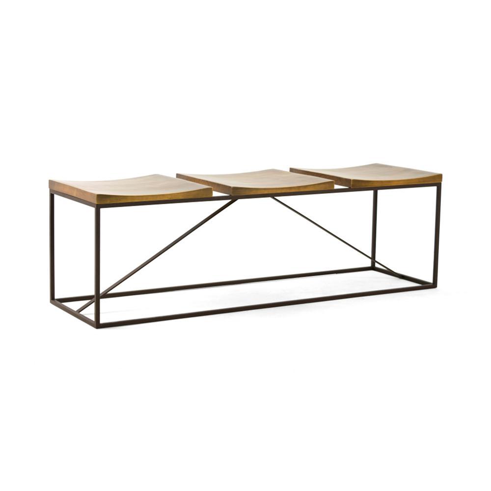 Artefama Furniture Brooklyn Oak And Dark Brown 3 Seater Bench