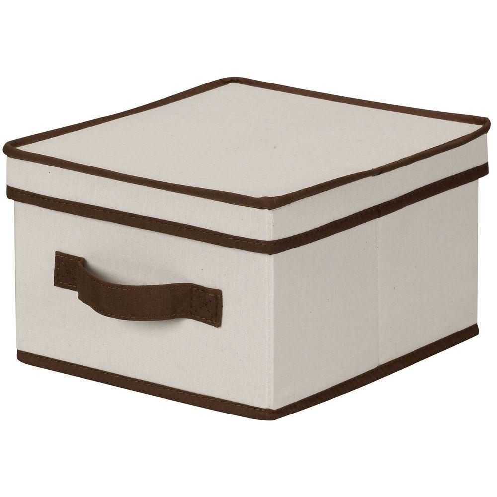 Household Essentials 10 in. x 11 in. Natural Canvas with Brown Trim Medium Storage Box