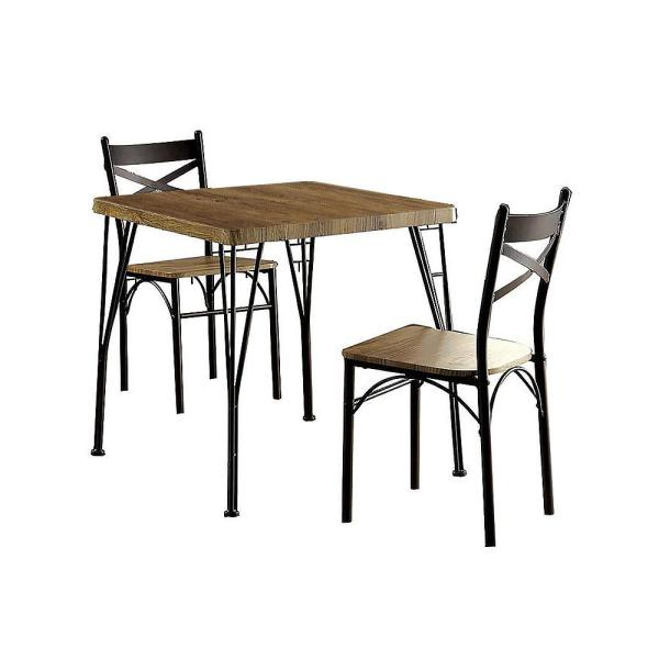 Banbury Gray and Dark Bronze Industrial Style Dining Table (3-Piece)