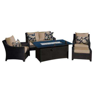 Deco 5-Piece Love and Club Patio Fire Pit Seating Set with Delano Beige Cushions