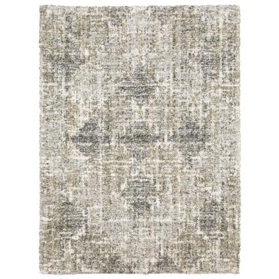 Landon Gray/Green 4 ft. x 6 ft. Abstract Shag Area Rug