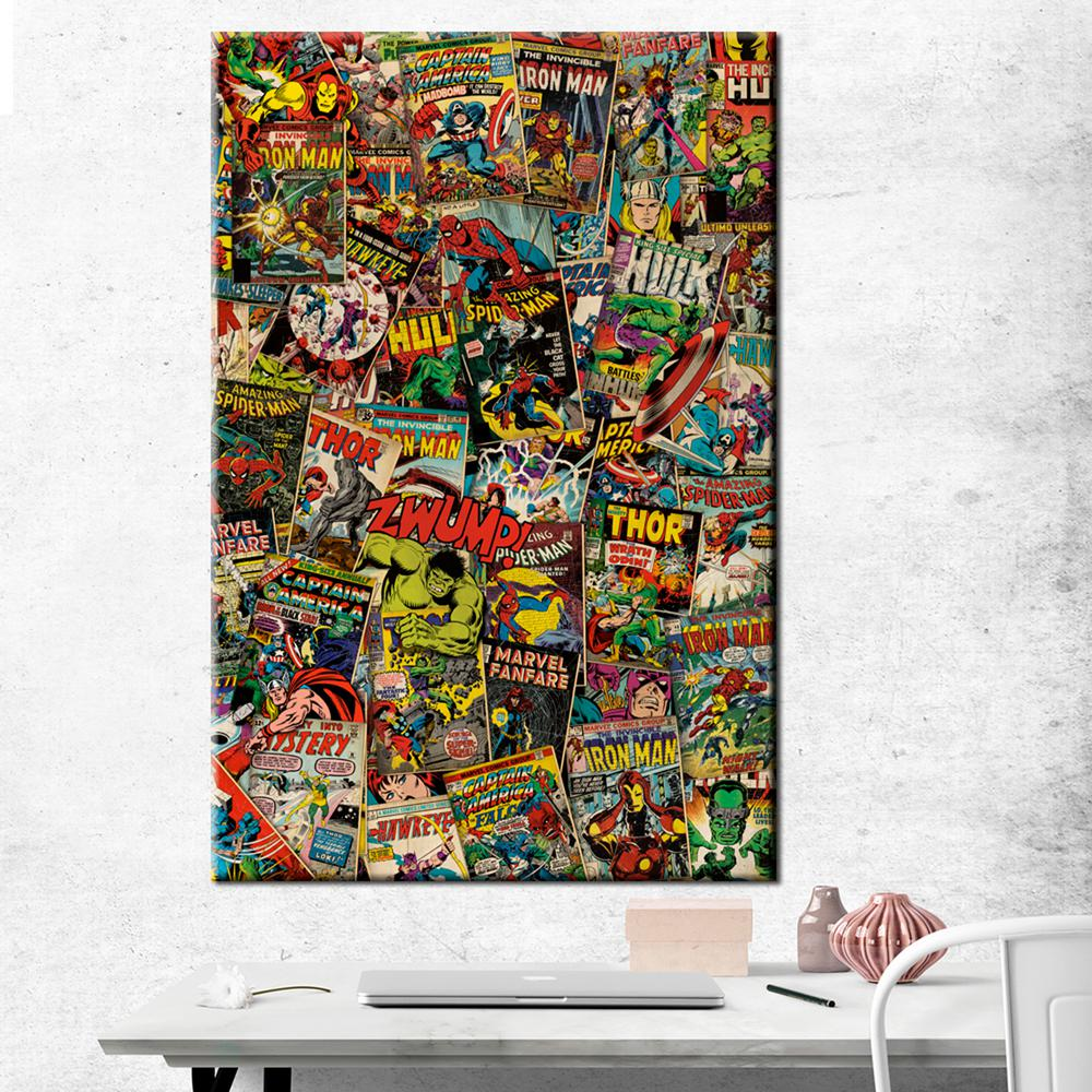 pyramid america 24 in x 36 in marvel retro collage printed