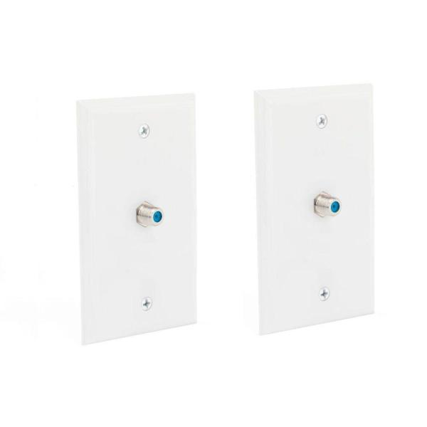 1 Gang Coaxial Wall Plate, White (2-Pack)