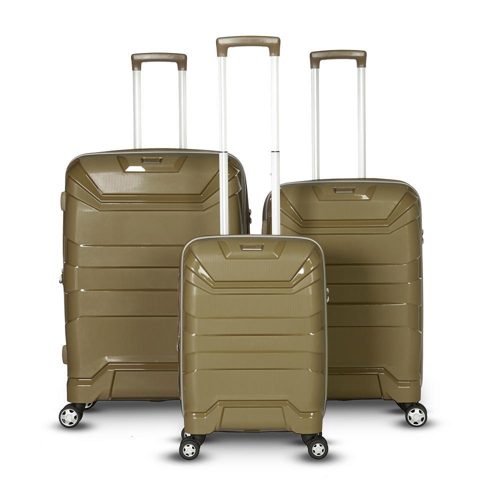 Casey 3-Piece Khaki Upright Hard Side Spinner Luggage Set