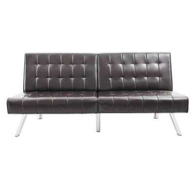Brown PU Leather Folding Lounge Couch Sofa Bed with Metal Solid Leg