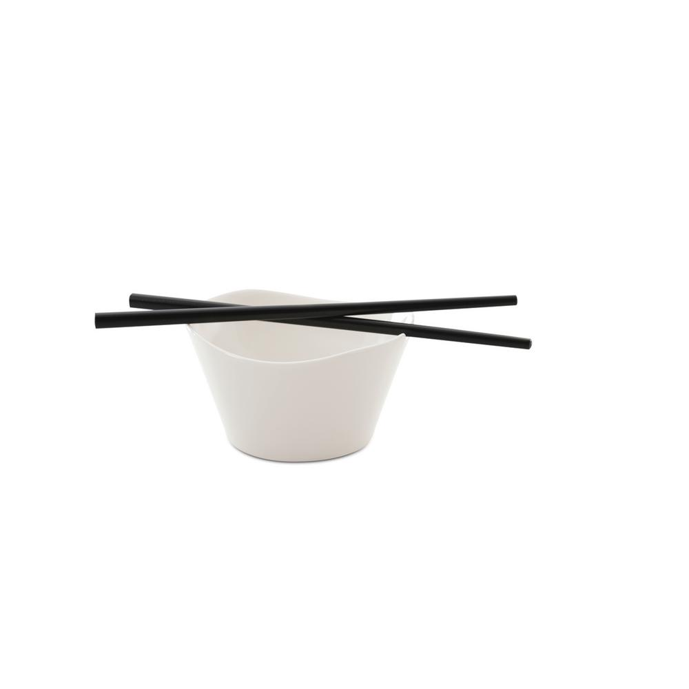 Eclipse White Porcelain Rice Bowl with Chop Sticks