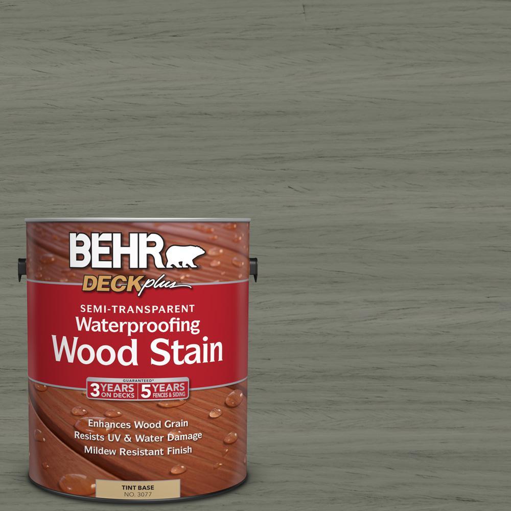 BEHR DECKplus 1 gal. #ST-137 Drift Gray Semi-Transparent Waterproofing Wood Stain