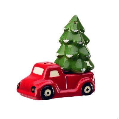 Season Red Truck 1.5 oz. Multicolor Ceramic Salt and Pepper Shakers with Figural Shapes