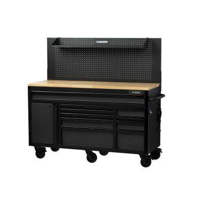 61 in. 10-Drawer Mobile Workbench with Pegboard